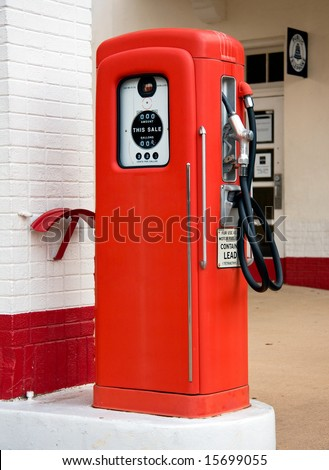 Close up of an old vintage gas petrol pump in place when gas was very inexpensive - stock photo