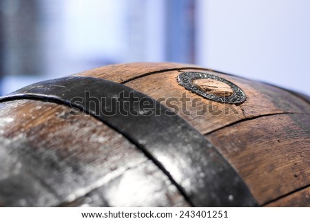 Close up of an old wooden barrel - stock photo