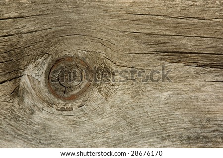 Close up of an old wooden plank with knot. - stock photo