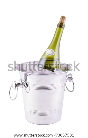 Close-up of an open bottle of wine in an iron bucket with ice. Isolated on white background - stock photo