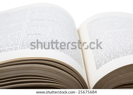 Close-up of an open old encyclopaedia - stock photo