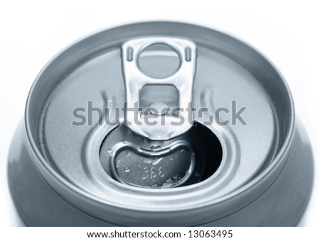 close up of an opened tin can - stock photo