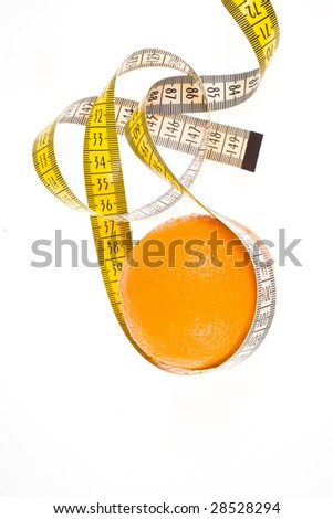 close up of an orange tied with a meter