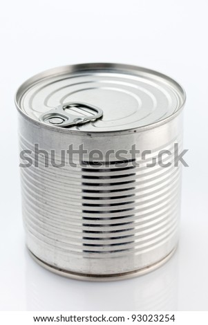 Close up of an unopened tin can of food