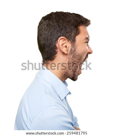 Close up of an upset young man in profile - stock photo