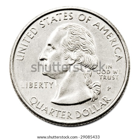 Close-up of an us quarter dollar coin isolated over white - stock photo