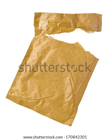close up of an used open mail package on white background with clipping path