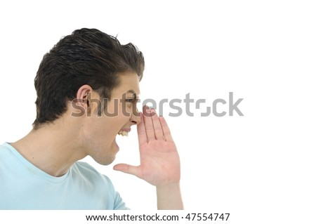 Close-up of an young man yelling - stock photo