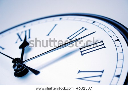 close up of analog clock - shallow depth of field - stock photo