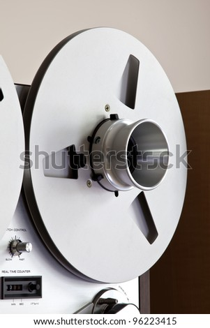 Close up of Analog Stereo Open Reel Tape Deck Recorder controls - stock photo