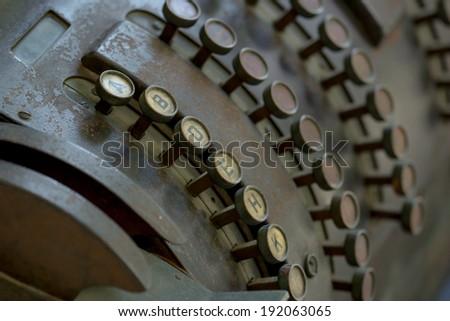 Close-up of antique cash register - stock photo