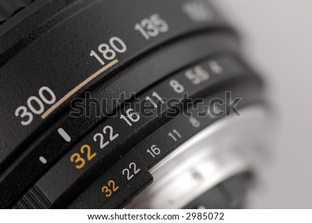 close up of aperture scale - stock photo