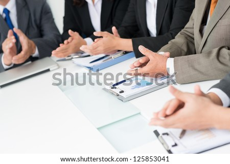 Close up of applauding people�¢??s hands
