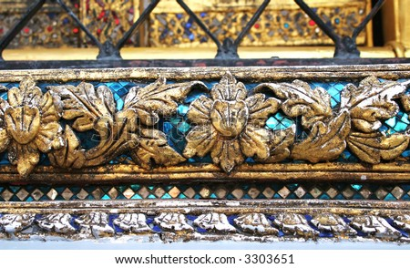 Close-up of architectural detail at the Grand Palace, Bangkok, Thailand - travel and tourism.