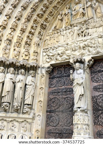 Close up of artwork and carvings in the Notre Dame Cathedral, Paris, France