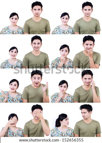Close-up of Asian couple with many facial expressions on white background - stock photo
