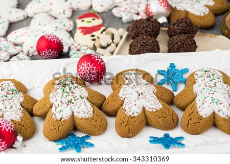 Close up of assorted Christmas cookies.