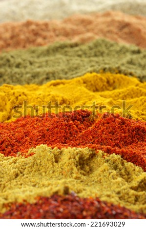 Close-up of assorted loose powder spices.Shallow DOF. - stock photo