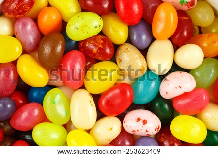 Close up of assorted multicolored jelly beans  - stock photo