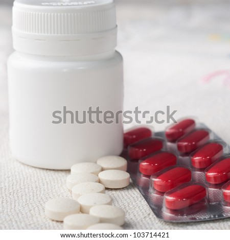 close up of Assorted pills - stock photo