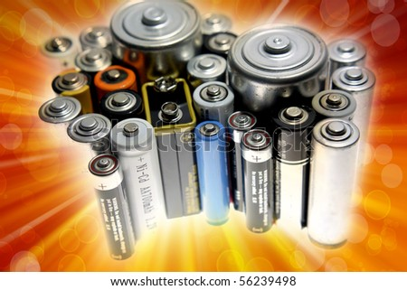 Close-up of assorted size disposable batteries - stock photo