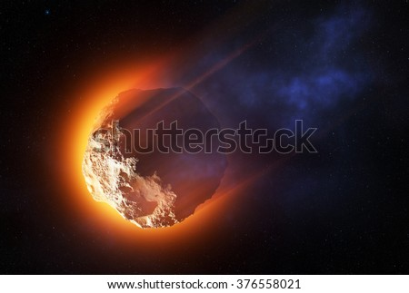 Close-up of asteroid entering the atmosphere at high speed and starting to burn -3D artwork - stock photo