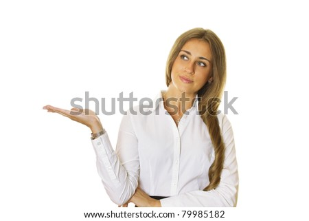 Close up of attractive, modern business woman gestures shows prezentuetyu isolated on white background - stock photo