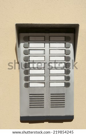 Close-up of audio door entry panel; Prague; Czech Republic - stock photo
