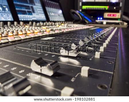 Close up of Audio Mixer Faders - stock photo