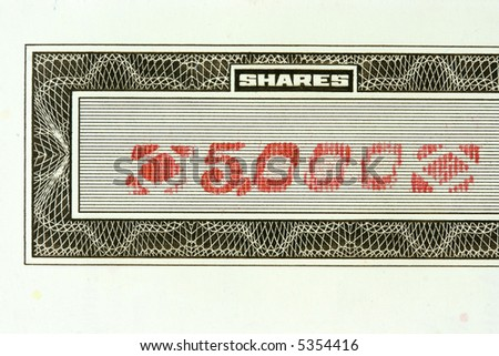 Close-up of authentic, vintage shares of an American corporation - stock photo