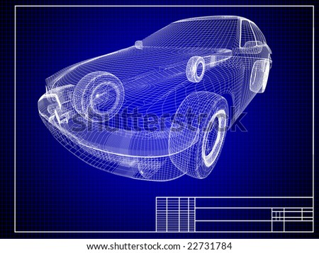 Close-up of auto blueprint - stock photo