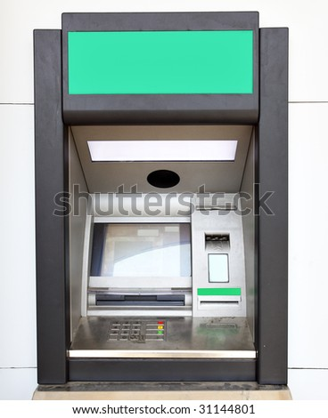 Close up of automated teller machine - stock photo