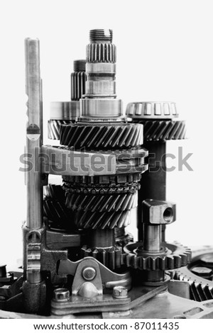close up of automotive gearbox components in black and white