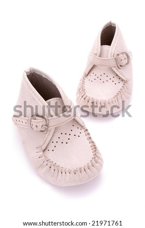 close up of baby shoes foot wear on white background with clipping path - stock photo