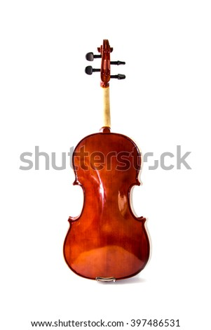 Close up of back violin on white background - stock photo
