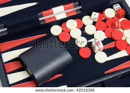 Close Up of Backgammon Set - stock photo