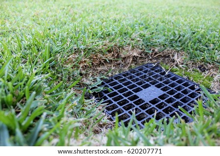 Close up of backyard drainage inlet