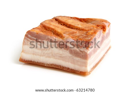 Close-up of bacon on a white background - stock photo
