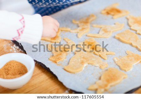 Close up of baking cookies at home