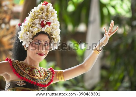 Close up of Bali dancer performing outdoor - stock photo