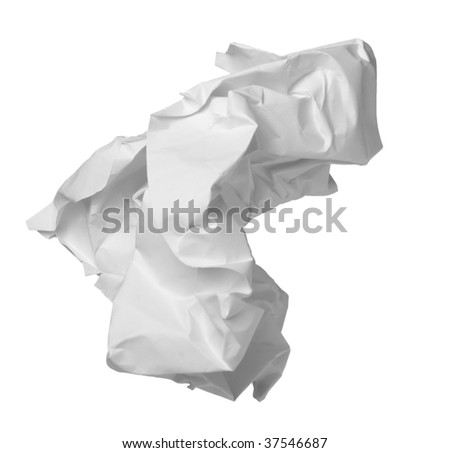 close up of ball of paper on white background with clipping path - stock photo