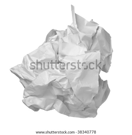 close up of ball of paper on white background with clipping path