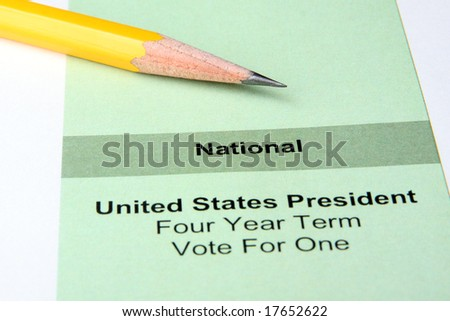 Close up of ballot for US president with pencil - stock photo