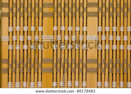 close up of bamboo curtain pattern material - stock photo
