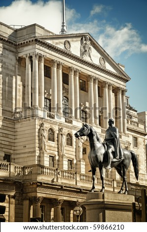 Close-up of Bank Of England`s facade with the statue of Duke of Wellington Statue (created by Francis Chantrey). City of London, England. - stock photo
