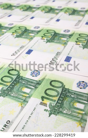 Close-up of banknotes of 10 euro. Money - stock photo