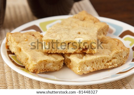Close up of bar cookies on a plate