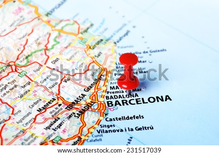 Close up of Barcelona ,Spain  map and red pin - Travel concept - stock photo