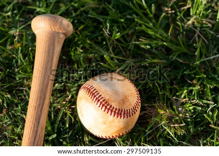 Close up of baseball and bat on grass - stock photo
