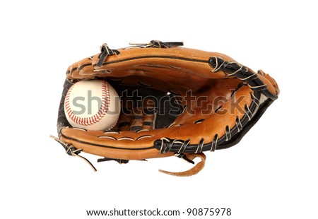 Close up of baseball glove and ball on white background - stock photo